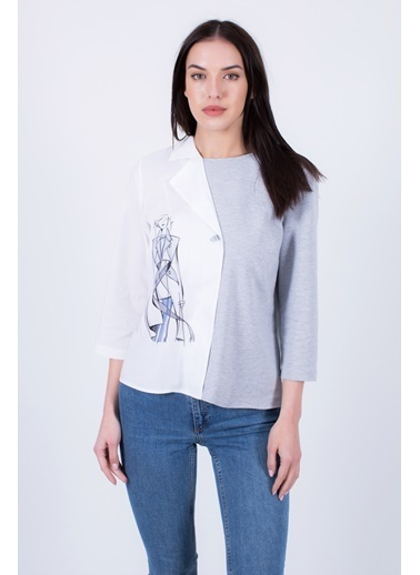Clıche  Asimetrik Bluz Gri